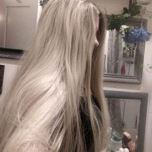 Long blonde wig. Human hair